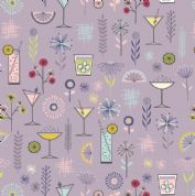 Lewis & Irene - Cocktail Party - 6529 - Cocktails & Modern Floral on Lilac - A350.2 - Cotton Fabric